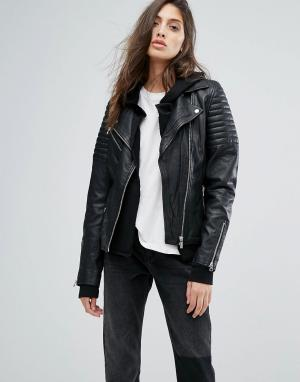Goosecraft Кожаная байкерская куртка в рубчик. Цвет: черный