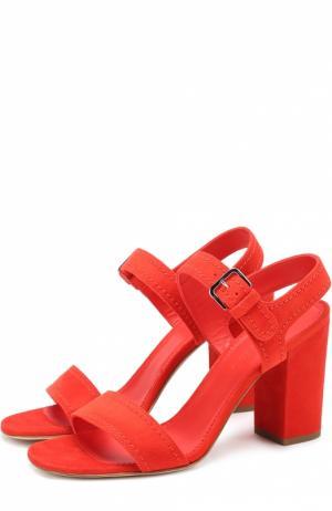 Замшевые босоножки на устойчивом каблуке Loro Piana. Цвет: красный