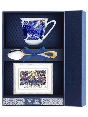 Набор чайный Сад - Птицы (чашка + ложка 925 пр рамка для фото футляр) АргентА. Цвет: серебристый