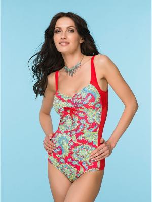 Купальный костюм FIANETA. Цвет: голубой, красный