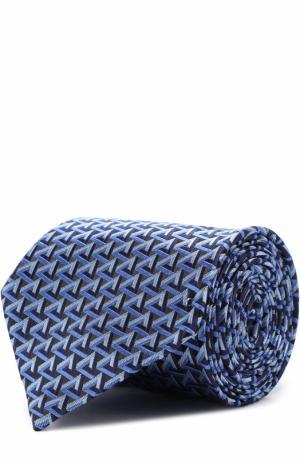 Шелковый галстук с узором Ermenegildo Zegna. Цвет: синий