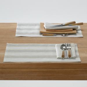 Комплект из 2-х салфеток под столовый прибор,  FERM. La Redoute Interieurs. Цвет: бежевый/антрацит,бежевый/красный