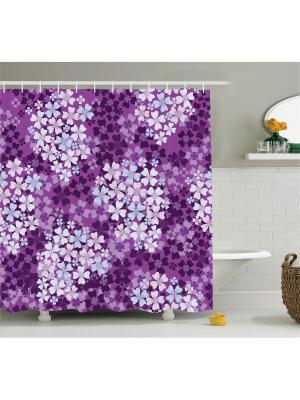 Фотоштора для ванной Жёлтые листья, лиловые цветы, бирюзовое дерево, разноцветная бабочка, 180x200 Magic Lady. Цвет: фиолетовый, голубой, серый