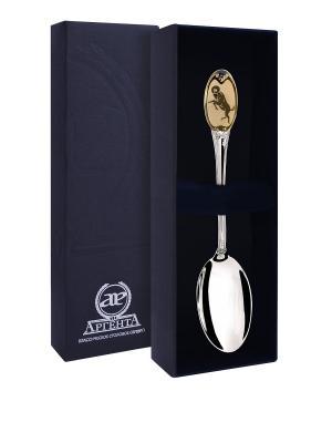 Ложка чайная частично позолоченная с логотипом Овен+футляр АргентА. Цвет: серебристый, золотистый