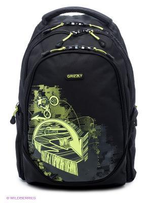 Рюкзак Grizzly. Цвет: черный, салатовый