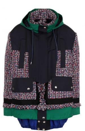 Укороченное буклированное пальто свободного кроя Sacai. Цвет: разноцветный