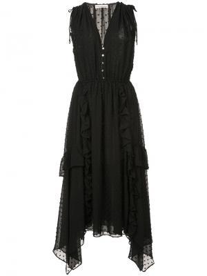 Платье с узором в мушку и V-образным вырезом Ulla Johnson. Цвет: чёрный