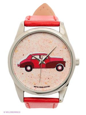 Часы Красная машинка Mitya Veselkov. Цвет: красный