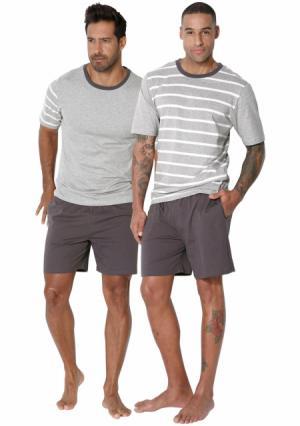Пижама с шортами, 2 штуки LE JOGGER. Цвет: 2х серый меланжевый/темно-серый