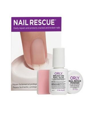 Набор Скорая ногтевая помощь ( клей+пудра) Nail Rescue Kit ORLY. Цвет: прозрачный, белый