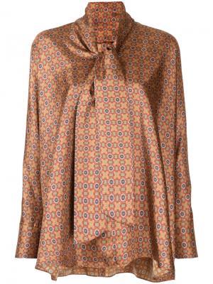Блузка с мозаичным принтом Astraet. Цвет: жёлтый и оранжевый