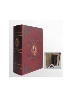 Шкатулка-сейф Замочная скважина арт.39507 (17*11*5см,из МДФ  с дверцей из черного металла) Magic Home. Цвет: бордовый