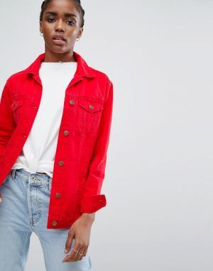 New Look Длинная цветная джинсовая куртка. Цвет: красный