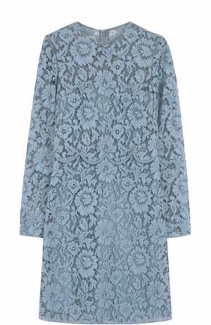 Кружевное мини-платье с длинным рукавом Valentino. Цвет: голубой