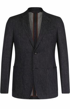 Шерстяной однобортный пиджак Ermenegildo Zegna. Цвет: темно-синий