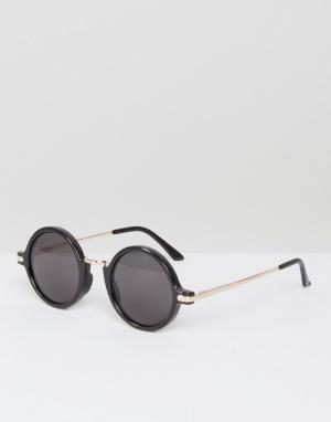 AJ Morgan Черные круглые солнцезащитные очки Rotunda. Цвет: черный