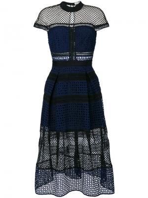 Ажурное платье с панельным дизайном Self-Portrait. Цвет: чёрный