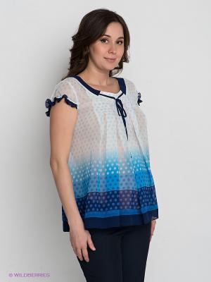 Блузка Gemko. Цвет: белый, синий, голубой