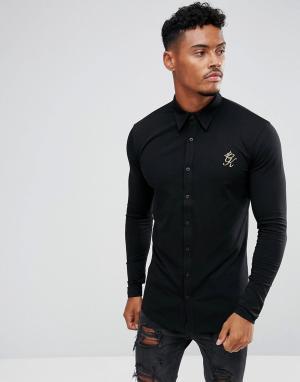Gym King Черная облегающая рубашка с золотистым логотипом. Цвет: черный