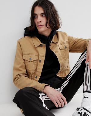 ASOS Светло-коричневая облегающая джинсовая куртка. Цвет: рыжий