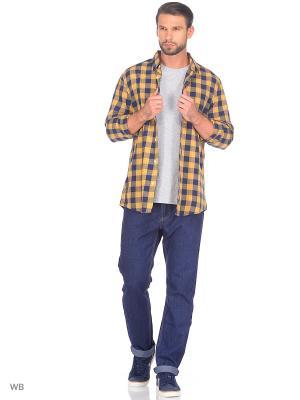 Рубашка Modis. Цвет: синий, оранжевый, рыжий