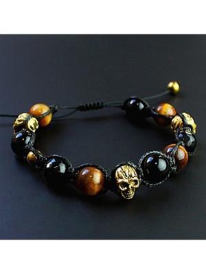 Мужской браслет шамбала Золотой Череп из черного агата и тигрового глаза Магазин браслетов. Цвет: черный, золотистый, темно-коричневый