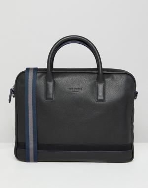 Ted Baker Кожаная сумка для ноутбука. Цвет: черный