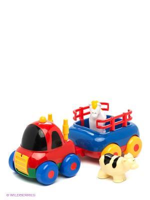 Набор Автопоезд с прицепом и животным Globo. Цвет: красный, синий, зеленый