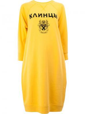 Платье-толстовка с принтом Клинцы Junya Watanabe Comme Des Garçons. Цвет: жёлтый и оранжевый