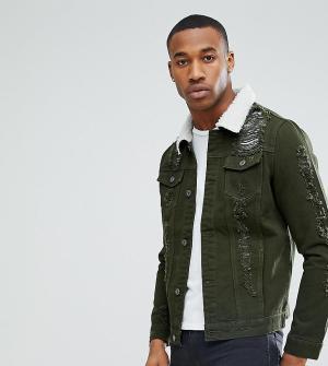 Liquor N Poker Зеленая джинсовая куртка с рваной отделкой и искусственным мехом Liquo. Цвет: зеленый