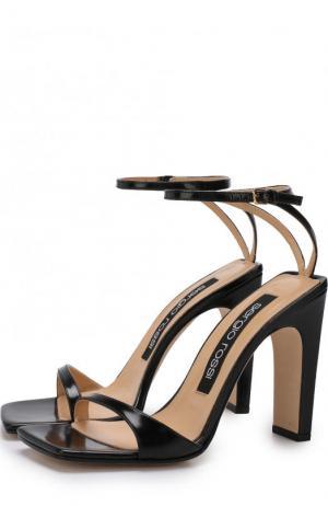 Кожаные босоножки на устойчивом каблуке Sergio Rossi. Цвет: черный