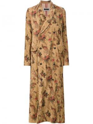 Длинное пальто с павлинами Uma Wang. Цвет: коричневый