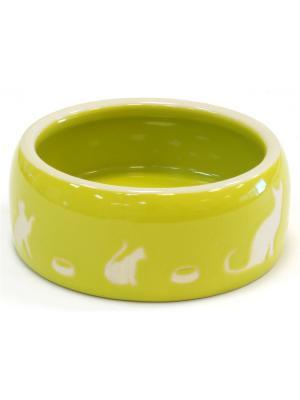 Миска 11,5х4,5см JOY керамическая с котом зеленая. Цвет: зеленый