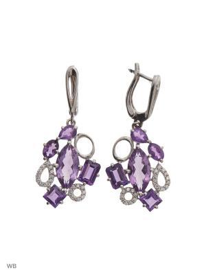 Серьги PRESHAS SILVER. Цвет: серебристый, лиловый, сиреневый, темно-фиолетовый, фиолетовый