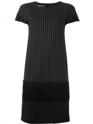 Платье в полоску с вышивкой Alberta Ferretti. Цвет: чёрный