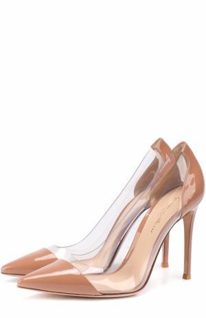 Лаковые туфли Plexi на шпильке Gianvito Rossi. Цвет: нюд