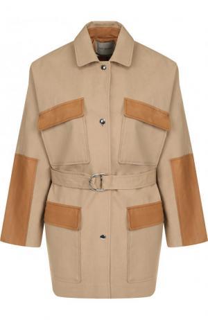 Хлопковая куртка с поясом и накладными карманами Yves Salomon. Цвет: бежевый