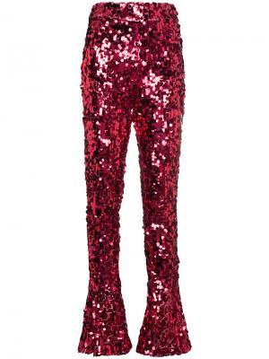 Расклешенные брюки с высокой талией пайетками Halpern. Цвет: розовый и фиолетовый