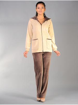 Велюровый костюм Тефия. Цвет: коричневый, бежевый