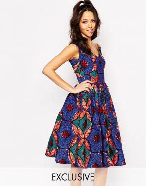 Sika Приталенное платье с пышной юбкой X ASOS. Цвет: blue coconut