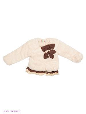 Меховая куртка на синтепоне Kidly. Цвет: кремовый, коричневый