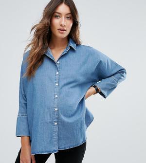 ASOS Maternity Синяя выбеленная джинсовая рубашка с рукавами летучая мышь MATERN. Цвет: синий