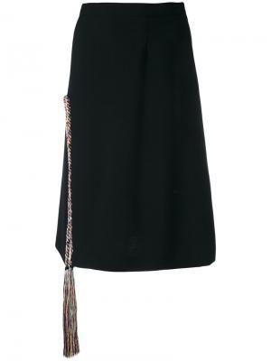 Прямая юбка с кисточкой Marco De Vincenzo. Цвет: чёрный