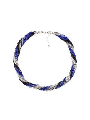 Бисерное ожерелье 24, цвет 22 Bottega Murano. Цвет: черный, серебристый, синий