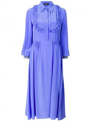 Платье-рубашка с рюшами Rochas. Цвет: синий