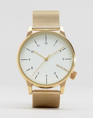 Komono Золотистые часы с сетчатым ремешком Winston Royale. Цвет: золотой
