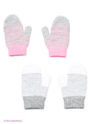 Варежки, 2 пары FOMAS. Цвет: светло-серый, розовый