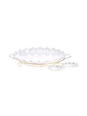 Блюдо круглое на металлической подставке + 2 соусника 40*5 см. 12*5см. PATRICIA. Цвет: золотистый, белый