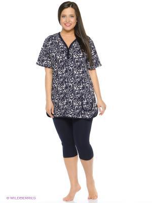 Пижама NICOLETTA. Цвет: темно-синий, бежевый