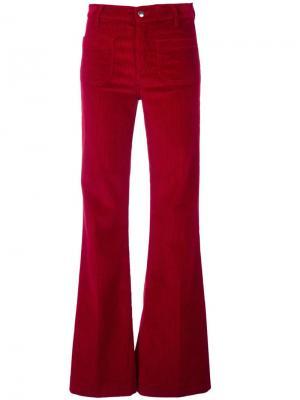 Расклешенные вельветовые брюки The Seafarer. Цвет: красный